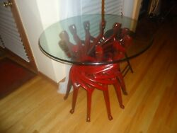 Glass Top On Mahogany Wood Table. Dramatic Eye Catching Conversation Piece.