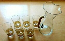 1950's Vintage Crystal Glass Pitcher 6 Glasses Gold Cord Details Mint Condition