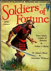Soldiers Of Fortune February 1932 Rare Clayton Pulp High Grade Burks