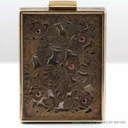 VINTAGE 1920's BOUCHERON RUBY SILVER GOLD BUTTERFLY DESIGN MAKEUP COMPACT