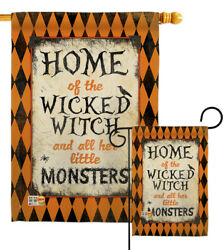 Wicked Home Halloween Witch And All Her Monster Garden House Yard Flag