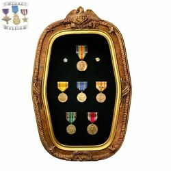 Wwi-wwii U.s. Victory And Campaign Medal France Bar Group Framed Convex Glass