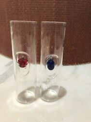 Pair Of Glass Shotglasses- About 3 Or So Inches Tall -one Red And One Blue