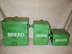 Vintage Style Tin Large Bread Box Biscuits Crackers Canisters Distressed Green