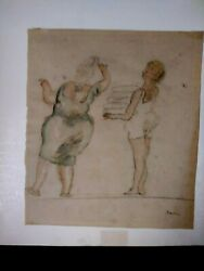 Antique Sketch Colored Drawing Jules Pascin 1885-1930 Watermarked Paper 10 X 11