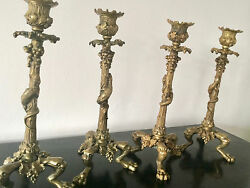 Antiques Four Of Bronze Candlesticks Candelabra Singed By Jd Regency Period