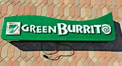 Vintage Working Green Burrito Lighted Sign, Large 6 Feet Long, Great Condition