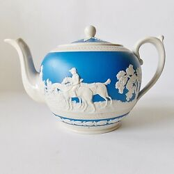 Spode Fox Hunting Blue And White Teapot Horses Hunting Dogs
