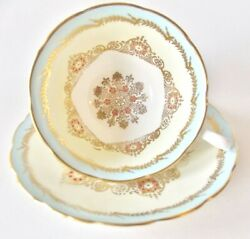 Grosvenor England Light Blue And Gold Teacup And Saucer Enameled Dots Beautiful