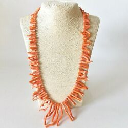Gorgeous Natural Coral Branch Necklace Sterling Clasp Hand Knotted Undyed Coral