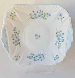Pretty Shelley Blue Rock Square Handled 9 1/2 Cake Plate Blue And White China