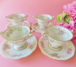 4 Antique French Limoges Porcelain Drop Rose Footed Bouillon Cups And Saucers