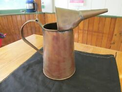 S38 Antique Copper Handled Spouted Oil Fuel Other Early Can Pitcher Automotive