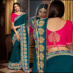 party wear New Indian designer ethnic Silk Saree Blouse fabric for Asian Women