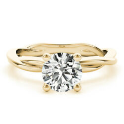Forever One Moissanite Round Cut Solitaire Infinity Engagement Ring Yellow Gold