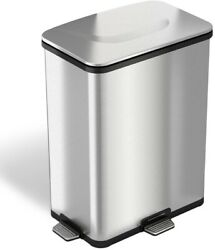 iTouchless Trash Can 13 Gal. Step-Sensor Fingerprint-Proof Metal Stainless Steel