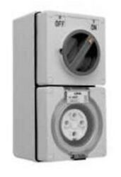 Clipsal 56-series Switched Socket 500v 4-pin Round Chemical Grey-10a 20a Or 32a