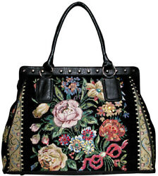 Womens Weekender Tote Bag Hand-Beaded Tapestry Faux Leather Flower Shop Design