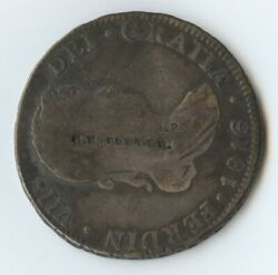 Exonumia Counter Stamped 1816 4 Reales 8384 Stamped Gh Potter Rr. Nt Rr Club