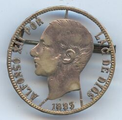 Spain 1885 5 Pesetas Silver Pin Cutout 942. Silver. Nicely Done.