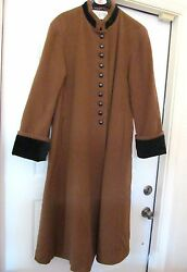 International Scene Long Coat W Velour Cuffs Made In Russia Womenand039s 11/12 Vtg