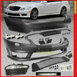 S63 S65 Style Front Rear Bumpers Exhaust Tip 2007-2013 MB Complete Body Kit W221