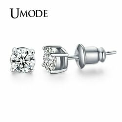 UMODE White Gold Color 4 Prong Small Cute AAA Top Grade 0.5ct Sona CZ  Post S..