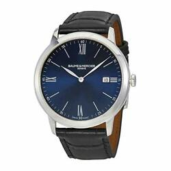 New Baume And Mercier Classima St. Steel Menand039s Quartz Leather Band Watch Moa10324