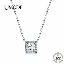 UMODE Square Cubic Zirconia Stone White Gold Sterling 925 Silver Women Neckla…