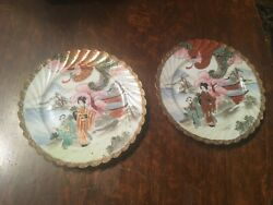 2 Gorgeous Antique Japanese Porcelain Plates Hand-painted Chinese Scenes