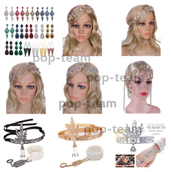 1920s Flapper Headpiece Great Gatsby Wedding Jewelry Set Bridal Hair Accessories
