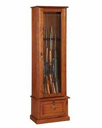 Antique Glass Door Display Cabinet For Most 52 Rifle And Double Barreled Shotguns