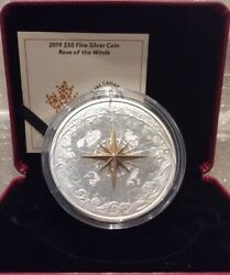 2019 Rose Of The Winds 50 5oz Pure Silver Proof 65mm Coin Canada Fleur-de-lis