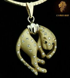 Italy / New / 1 Ct Diamond Panther Leopard Necklace / 14k Gold