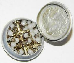 Antique Milk Glass Rosary Beads In Pewter Box Holy Crucifix Marian Prayer 17inch