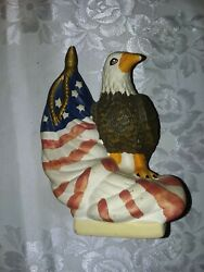 LIBERTY SOCIETY COLLECTION PORCELAIN EAGLE WITH FLAG SCULPTURE 7 1 2quot; H
