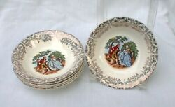 Five Fruit Bowls Salem China Gold Filigree Colonial Couple Garden Scalloped 5