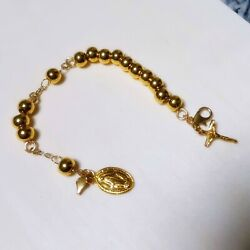 24k Solid Gold Rosary Bracelet5mm Ball By Estherleejewel