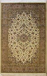 Rugstc 5x8 Senneh Pak Persian White Rug Hand-knottedfloral With Silk/wool