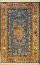 Rugstc 6x9 Pak Persian Blue Area Rug Hand-knottedfloral With Silk/wool Pile
