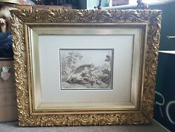 Antique Georgian Fine French Drawing Dogs Hunting Countryside Shooting Painting