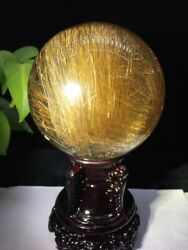 110mm Huge! Rare Natural Clear Gold Rutilated Quartz Crystal Sphere Ball Healing