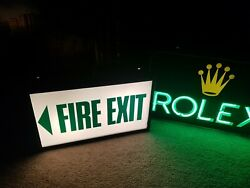 Vintage Theatre Fire Exit Sign Illuminated Light Up Sign Lamp Curio