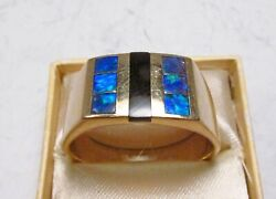 Vintage 1990s Ngl Angels Jewelry Los Angeles 14k Gold Blue Opal Mens Ring S 12.5