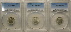 1911-p D S Silver Barber/liberty Head Dime Certified Pcgs Choice Ms64 Sharp Set