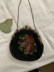 ANTIQUE PURSE NEEDLEPOINT FLORAL DESIGN Circa late 1800's early 1900's $275.00