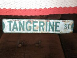 Two Vintage Green And White Street Signs - Tangerine Street