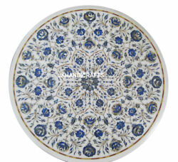 36 Round White Marble Coffee Table Top Lapis Lazuli Floral Inlay Bedroom Decor