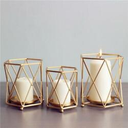Gold Geometric Wrought Candle Holder