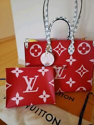 Louis VUITTON MONOGRAM GIANT ONTHEGO Red Bag & Toiletry Clutch & Charm KeyHolder